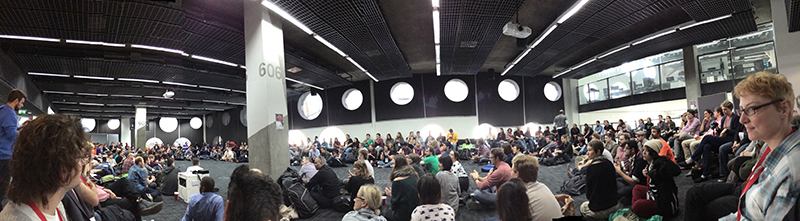 Friday morning, MozFest's  core planning team rallied the session facilitator troops for training and final logistics.