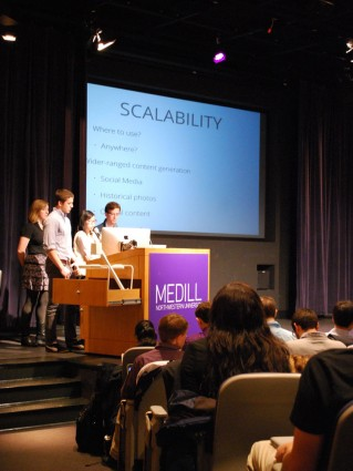 The first team presented Spectacle, a Google Glass app that provides an augmented reality experience with information about locations on Northwestern's campus.