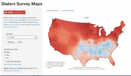 A map from Katz's smoothing project based on the Harvard dialect data.