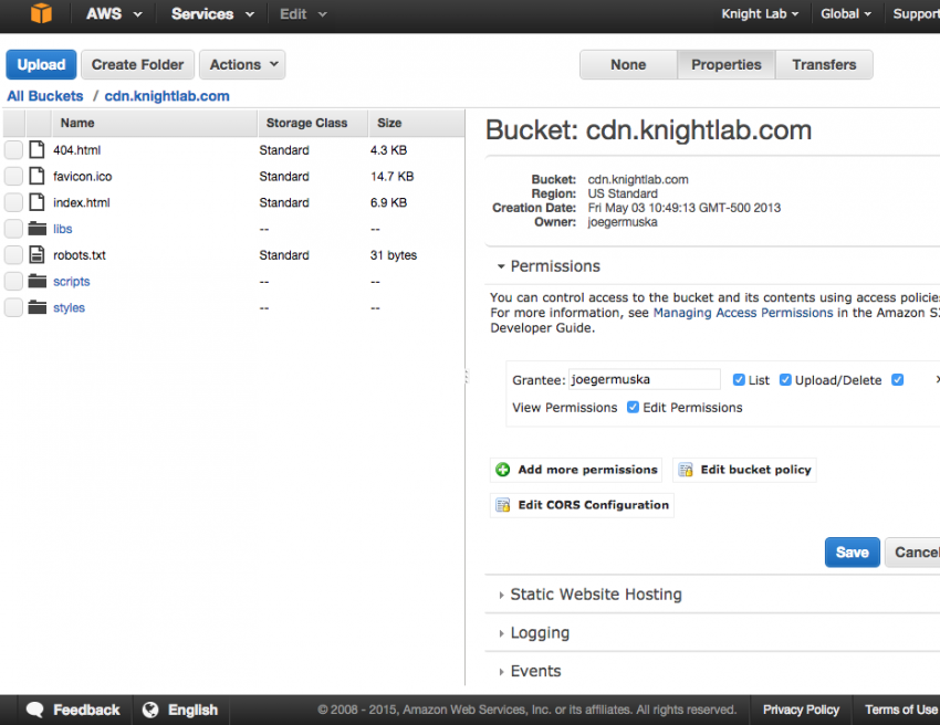 Implementing SSL on Amazon S3 Static Websites | Knight Lab