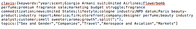 A list of keywords and topics Clavis generated on a recent story about the perfume industry.