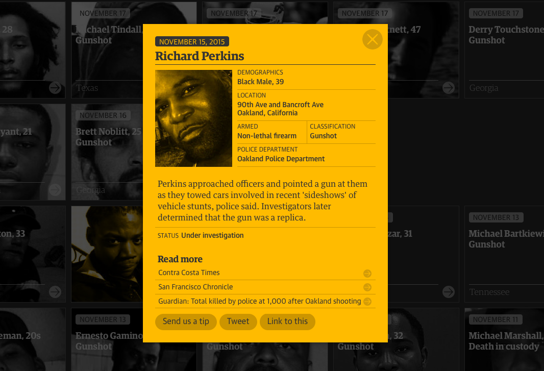 """Richard Perkins was the 1000th person to be added to The Guardian's """"The Counted"""" project."""