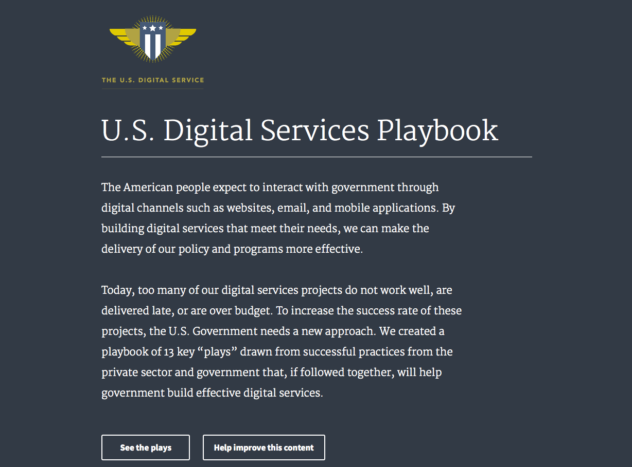 The website for the US Digital Services Playbook looks like anything but a typical government website. Find it at playbook.cio.gov/.